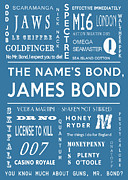 James Bond Film Framed Prints - The names Bond in Blue Framed Print by Nomad Art And  Design
