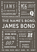 James Bond Film Framed Prints - The names Bond in Grey Framed Print by Nomad Art And  Design