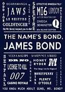 James Bond Film Framed Prints - The names Bond in Navy Framed Print by Nomad Art And  Design