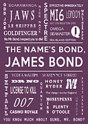 James Bond Film Framed Prints - The names Bond in Purple Framed Print by Nomad Art And  Design