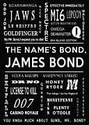 James Bond Film Framed Prints - The names Bond James Bond Framed Print by Nomad Art And  Design