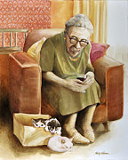 Kittens  Paintings - The Nanny by Shelly Wilkerson