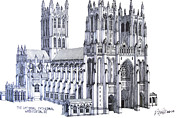 Pen And Ink Historic Buildings Drawings Drawings - The National Cathedral by Frederic Kohli