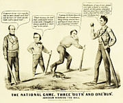 Abraham Lincoln Prints - The National Game - Abraham Lincoln Plays Baseball Print by Digital Reproductions