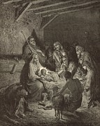 Virgin Mary Drawings Prints - The Nativity Print by Antique Engravings