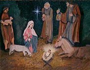 Nativity Paintings - The Nativity by Cynthia Massey