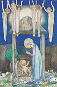 Worship God Painting Posters - The Nativity Poster by Edward Reginald Frampton