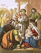 Christmas Cards Prints - The nativity Print by English School