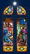 Stained Glass Pastels Prints - The Nativity Print by Jean Hildebrant