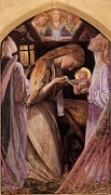 Christian Artwork Paintings - The Nativity With Angel by Arthur Hughes