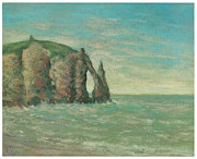 Cliffs Over Ocean Metal Prints - The Needle at Etretat Metal Print by Claude Emile Schuffenecker