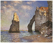Cliffs Over Ocean Metal Prints - The Needle Etretat Metal Print by Claude Monet