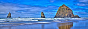 Sandy Beaches Posters - The Needles and Haystack Rock - Cannon Beach Oregon Poster by David Patterson