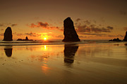 Fine Art Images Framed Prints - The Needles At Haystack - Cannon Beach Sunset  Framed Print by Brian Harig