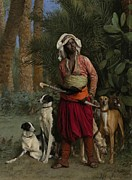 Hounds Framed Prints - The Negro Master of the Hounds Framed Print by Jean-Leon Gerome