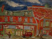 Canadiens Paintings - The Neighbourhood 1950 by Michael Litvack