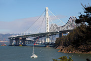 San Francisco Landmarks Art - The New And The Old Bay Bridge San Francisco Oakland California 5D25405 by Wingsdomain Art and Photography