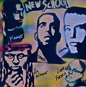 Kanye West Paintings - The New School by Tony B Conscious