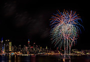 Fire Works Posters - The New York City Skyline Sparkles Poster by Susan Candelario