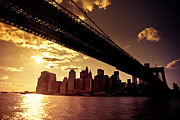 New York City Skyline Art - The New York City Skyline - Sunset by Vivienne Gucwa