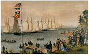 Yacht Paintings - The New York Yacht Club Regatta by Charles Parsons and LyAtwater Nathaniel Currier