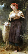 Mammals Digital Art Prints - The Newborn Lamb Print by William Bouguereau