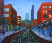Chicago At Night Paintings - The Next Train by J Loren Reedy