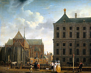 Hall Digital Art Prints - The Nieuwe Kerk and the Rear of the Town Hall in Amsterdam  Print by Isaak Ouwater