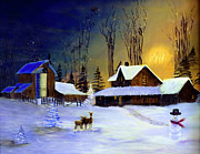 Snowy Trees Painting Posters - The Night Before Christmas Poster by Diane Schuster