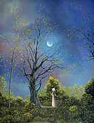 Fairytale Painting Posters - The Night Calls To Her. Fantasy Forest Fairytale Art By Philippe Fernandez Poster by Philippe Fernandez