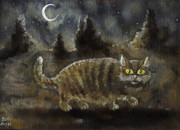Feline Paintings - The Night Stalker by Angel  Tarantella