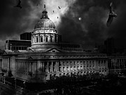 Halls Posters - The Night The Vultures Returned To San Francisco City Hall 5D22510 Black and White Poster by Wingsdomain Art and Photography