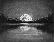 Full Moon Drawings Prints - The Night Walked Down The Sky Print by J Ferwerda