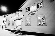 Winter Night Framed Prints - The Nordpol Kro Pub In Vardo Finnmark Norway Europe Framed Print by Joe Fox