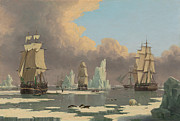 Sailboat Paintings - The Northern Whale Fishery by John of Hull Ward