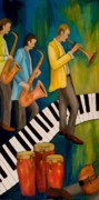 Trumpet Paintings - The Nostalgia Jazz Band I by Larry Martin