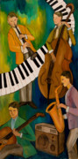 Soul Musicians Paintings - The Nostalgia Jazz Band II by Larry Martin