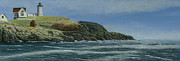 New England Lighthouse Paintings - The Nubble by Nan McCarthy