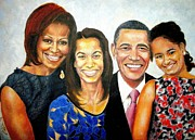 First Black President Paintings - The Obama Family by G Cuffia