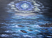 Sea Moon Full Moon Painting Originals - The Ocean Sings the Sky Listens 2 by Cheryl Pettigrew