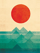 Geometric Digital Art Prints - The Ocean the sea the wave Print by Budi Satria Kwan