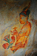 Ceylon Prints - The Ode for the Women Beauty. Sigiriyan Lady with Flowers. Sigiriya. Sri Lanka Print by Jenny Rainbow
