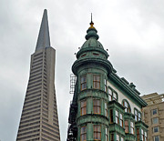 Jim Fitzpatrick Prints - The Old and the New the Columbus Tower and the Transamerica Pyramid III Print by Jim Fitzpatrick