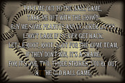 Baseball Art Print Framed Prints - The Old Ballgame Framed Print by Ricky Barnard