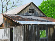 Old Barn Paintings - The Old Barn by Barb Pennypacker