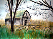 Grapevines Painting Prints - The Old Barn Print by Linda Waidelich