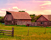 Old Barns Painting Prints - The Old Barn Print by Michael Pickett