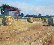 Old Barns Painting Prints - The Old Barns in Georgetown ON Print by Ylli Haruni