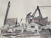 Pencil On Canvas Prints - The Old Berkeley Marina Junk Heap on a Foggy Day Print by Asha Carolyn Young