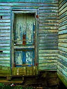 Weathered Houses Prints - The Old Blue Door Print by Julie Dant